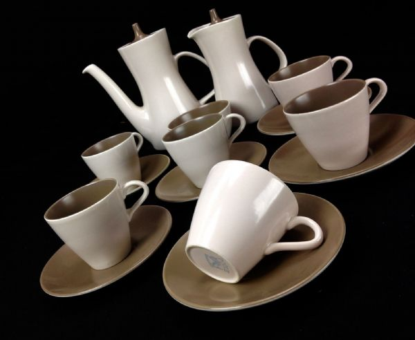 Vintage Poole Pottery Twintone Tea Set / Coffee / Brown And Cream / For 6 People